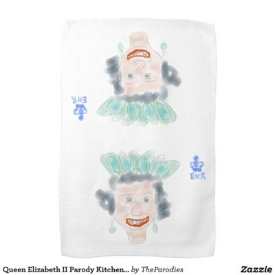 Queen Elizabeth II Parody Kitchen Tea Towel