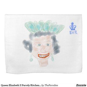 Queen Elizabeth II Parody Kitchen Tea Towel - Half Fold