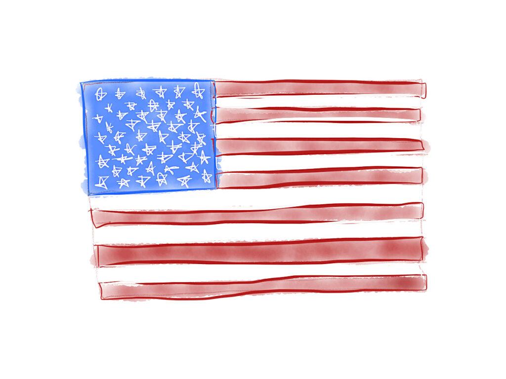 American Flag Watercolor Original Art By Paul Myrick